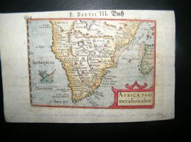Bertius 1612 Hand Col Map. Africae Pars Meridionalior. South Africa, Sea Monster